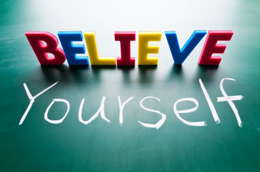 Believe yourself, Colorful words on blackboard.